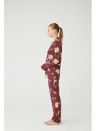 Mod Collection Kadın Boydan Patlı Pijama Takımı Mürdüm
